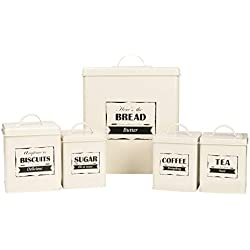 Home By Jackie X321 Cream White Set of 5 Metal Food Tin Canister/Bread Bin/Container/Box/Set (Cream)