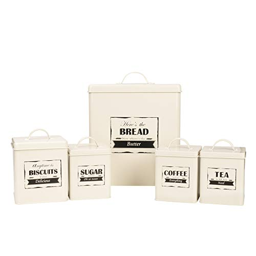 (Home By Jackie X321 Cream White Set of 5 Metal Food Tin Canister/Bread Bin/Container/Box/Set)