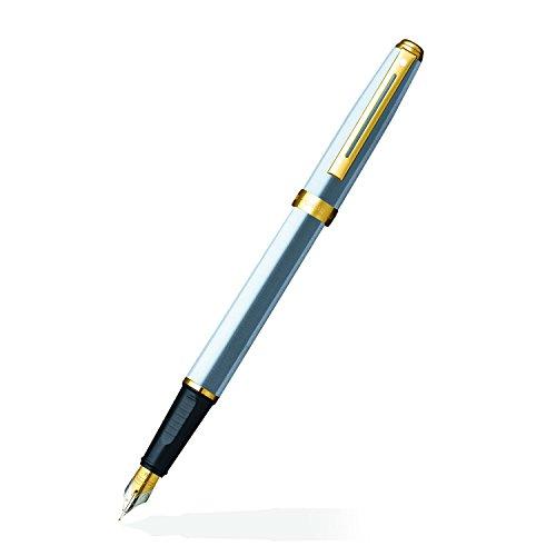 (Sheaffer Prelude, Brushed Chrome Plate Featuring 22KT Gold Plate Trim, Fountain Pen: Medium Nib (E034253))