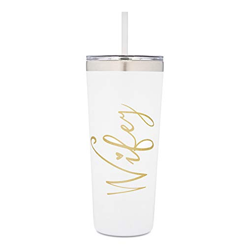 SassyCups Wifey Tumbler | 22 Ounce White with Gold Foil Stainless Steel Insulated Tumbler with Lid and Straw | Bridal Shower | Bride Tumbler | Engaged | Wife Anniversary | Wife Birthday (Wifey Shower)