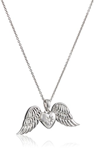 Sterling Silver Diamond Heart Angel Wings Pendant Necklace, 18""