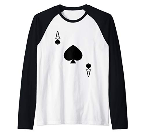 Ace Spades Poker Texas Hold em Deck Cards Playing Costume  Raglan Baseball Tee]()