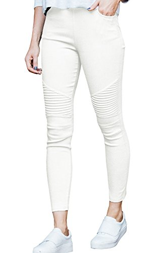Meilidress Womens High Waist Moto Jeggings Skinny Stretch Ankle Jeans Leggings with Pockets by Meilidress (Image #1)