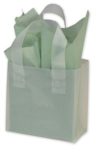 (Bags & Bows by Deluxe 268-060306 Clear Frosted High Density Flex Loop Shoppers - Case of 250)