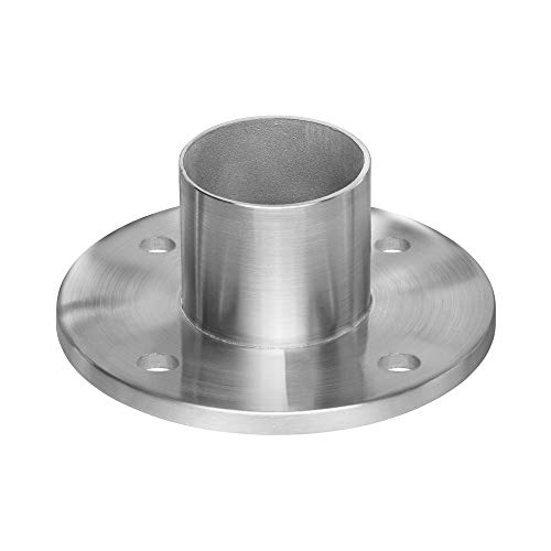 Stainless Steel Round Long Neck Floor Flange Base, Round Tube Post Anchor, Top Hand Rail Wall Mount for Cable Railing Deck, 316 Marine Grade (Intermediate Posts) (Railing Anchor Post)