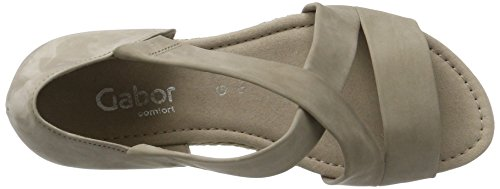 Gabor Shoes Comfort, Sandalias con Cuña para Mujer Beige (leinen Jute)