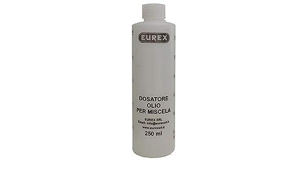 Eurex - Dosificador de aceite para mezcla con tapa - Capacidad 250 ml -Escala graduada y porcentajes 2 – 4% 2,5 – 5% 3 – 6%
