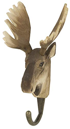 WILDLIFEGARDEN Hand-Carved Moose Hook, Sturdy Indoor/Outdoor Wood Wall Hook with Artisanal Life-Like Figurine, Easy-to-Install, Designed in Sweden (Antlers Carved Moose)