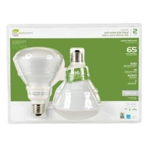 Ecosmart 14-Watt Soft White Compact Fluorescent R30 Flood Light Bulbs 2-Pack (equivalent to standard 65 watt bulbs)