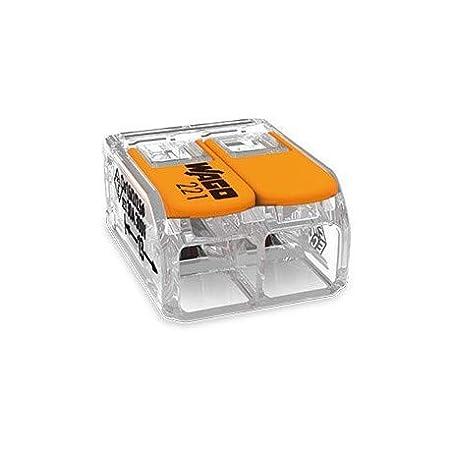 10 pezzi Wago 221-615 Morsetto di collegamento 5 conduttori con leva di comando 0,5-6 qmm esecuzione piccola trasparente