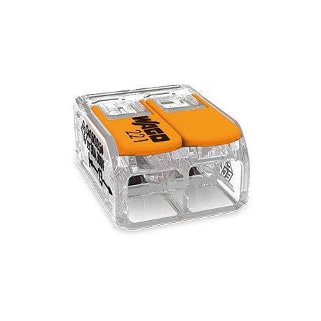 transparent 200 St/ück Wago 221-412 Verbindungsklemme 2 Leiter mit Bet/ätigungshebel 0,2-4 qmm kleine Bauform