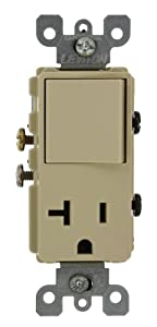 Leviton 5636-I 20 Amp, 120 Volt, Decora Single-Pole, AC Combination Switch, Commercial Grade, Grounding, Ivory