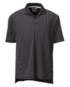 (Adidas Golf A60 ClimaLite Tech Mens Pencil Stripe Polo - Black/White -)