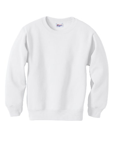 Hanes Youth 7.8 oz 50/50 Crewneck Sweatshirt in White - Larg