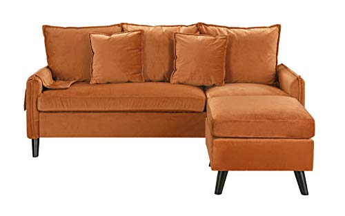 Classic Living Room Velvet Sectional Sofa, L-Shape Couch with Pocket Organizer (Rust)