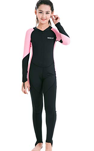 JELEUON Little Kids Girls One Piece Water Sports Sun Protection Rash Guard UPF 50+ Long Sleeves Full Suit Swimsuit Wetsuit -