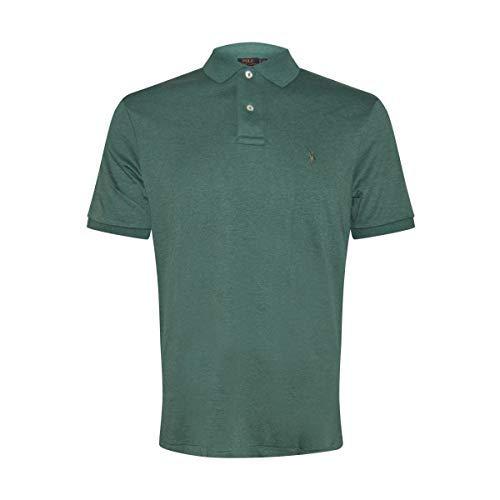 Ralph Lauren Polo Mens Medium Fit Interlock Polo Shirt (Medium, Green/Dark Green Pony) (Interlock Embroidered)