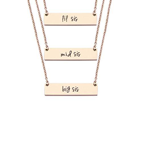 JJTZX Sister Bar Necklace Set Lil Sis & Big Sis Hand Stamped Bar Necklace New Big Sister Gift (RG 3 Set) -