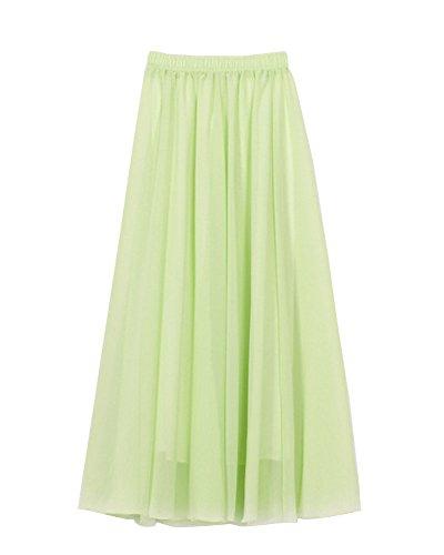 Mujer Maxi Larga Falda Bohemio Dobladillo Grande Gasa Faldas Vestidos De Plisadas Manzana verde