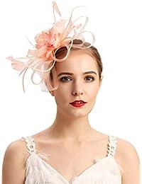 82993d168f636 Fascinators Hat for Women Tea Party Headband Kentucky Derby Wedding  Cocktail Flower Mesh Feathers Hair Clip