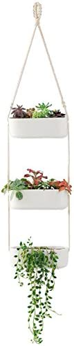 Mkono Ceramic Hanging Planter 3 Tier Indoor Wall Plant Holder for Succulent Herb Air Plant Live or Faux Plants