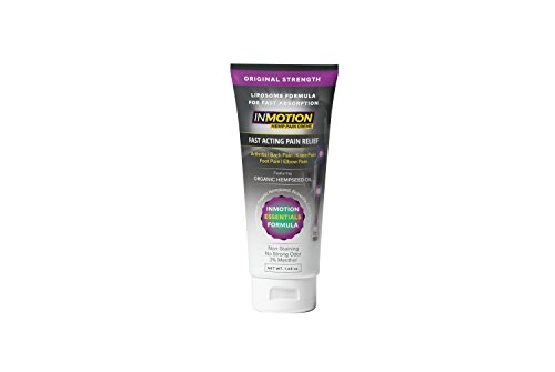 Inmotion Hemp Pain Relief Cream - Fast Acting Topical Analgesic For Arthritis, Tendinitis, Back, Knee, Muscle, Foot, and Elbow Pain - 1.65 Ounce Tube by InMotion Hemp