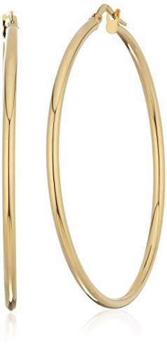 14k Yellow Gold 40mm 1.8mm Tube Click Top Hoop Earrings by Amazon Collection