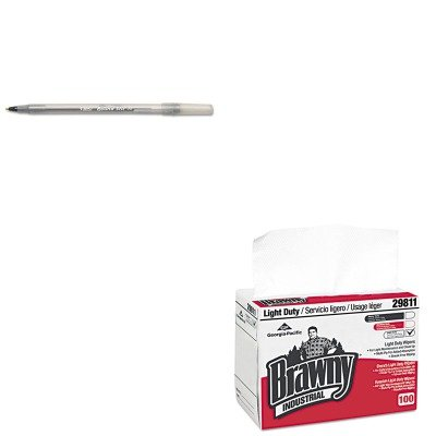 1 - Value Kit - Georgia Pacific Brawny Industrial Light Duty Paper Wipers (GEP29221) and BIC Round Stic Ballpoint Stick Pen (BICGSM11BK) ()