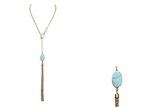 Rosemarie Collections Femme Collier Y Turquoise Couleur pierre et Tassel Décor