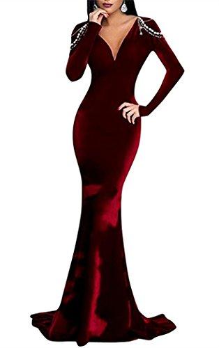 Women's 2018 neck DreHouse Sleeves Evening Dress Mermaid Burgundy with Velvet Beaded Prom V pBqwdA