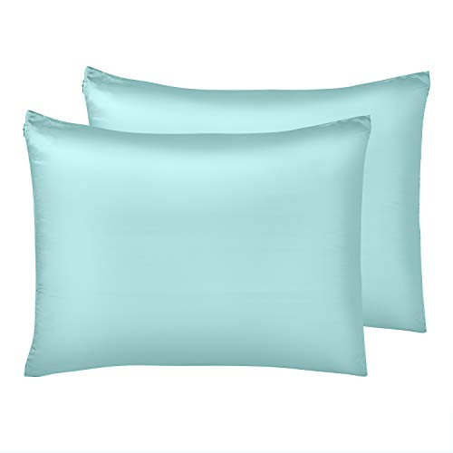 (IUNIQEE Satin Pillowcase, Set of 2 Super Soft Luxury Anti Wrinkle Silky Pillow Cases with Hidden Zipper for Hair and Skin (Cyan, King: 20x36))