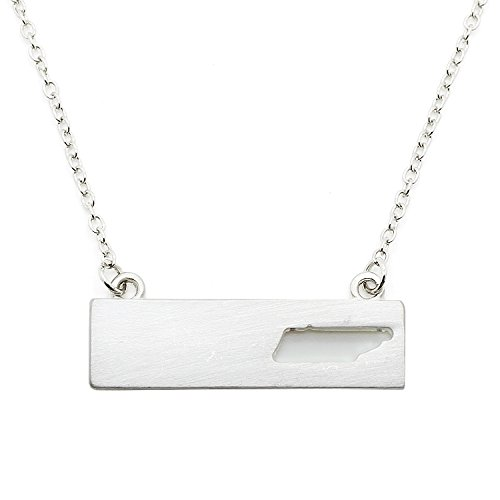 (Patriotic United States: State-Shaped Rectangular Cut-Out Pendant Necklace: Tennessee Silver-Tone)