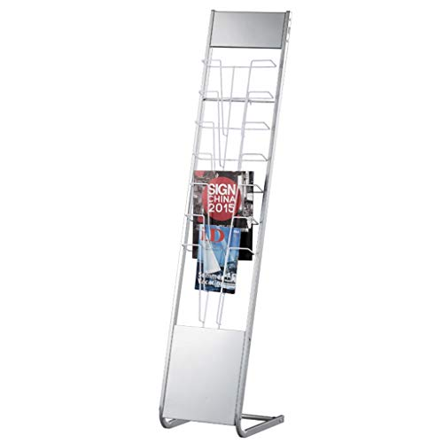 Silver Gray Wrought Iron Floor Magazine Rack/Newspaper Rack/Publicity - Stand Floor Pocket Magazine Seven