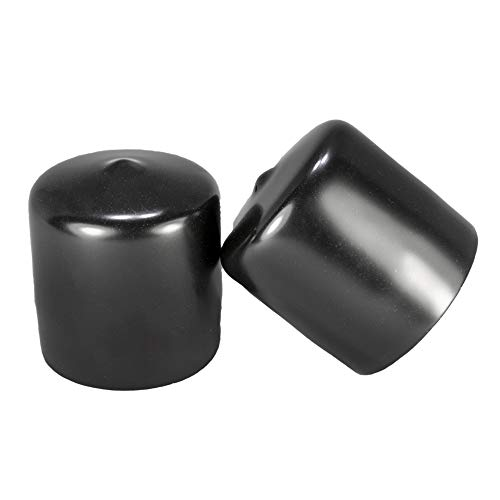 Prescott Plastics 1 5/8 Inch Round Black Vinyl (Tall) End Cap, Flexible Pipe Post Rubber Cover (10)