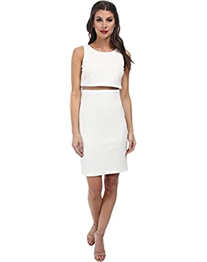 Jessica Simpson Womens Pop Over Dress w/ Mesh Illusion