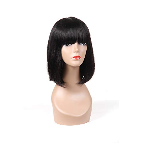 Beauty : PANEWAY Straight Human Hair Wigs Short Bob Wig with Full Bangs Brazilian Virgin Hair Real Hair Wigs Human Hair Wigs Shoulder Length Bob Style for Black Women African Americans Natural Color(12inch)