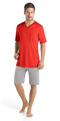 Hanro Men's Night and Day Sleeve Short Pajama Set, Lava, Medium by HANRO
