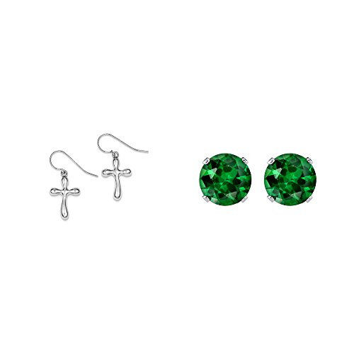 Silver Cross French Sterling (Sterling Silver Cross Earrings and a pair of Green 4mm CZ Stud Earrings)