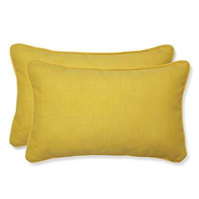 Pillow Perfect Outdoor Fresco Yellow Rectangular Throw Pillow, Set of 2 - Includes two (2) outdoor pillows, resists weather and fading in sunlight; Suitable for indoor and outdoor use Plush Fill - 100-percent polyester fiber filling Edges of outdoor pillows are trimmed with matching fabric and cord to sit perfectly on your outdoor patio furniture - living-room-soft-furnishings, living-room, decorative-pillows - 31y39Ilkp9L. SS400  -