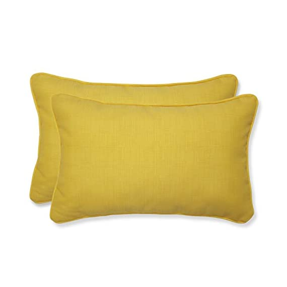 Pillow Perfect Outdoor Fresco Yellow Rectangular Throw Pillow, Set of 2 - Includes two (2) outdoor pillows, resists weather and fading in sunlight; Suitable for indoor and outdoor use Plush Fill - 100-percent polyester fiber filling Edges of outdoor pillows are trimmed with matching fabric and cord to sit perfectly on your outdoor patio furniture - living-room-soft-furnishings, living-room, decorative-pillows - 31y39Ilkp9L. SS570  -