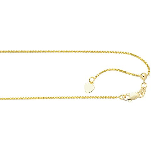 Gold Adjustable Cable Chain - Jewelryweb Solid 10K Yellow Gold 1.0mm Adjustable Wheat Chain Necklace - 22 Inch