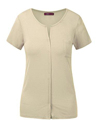Doublju Womens Short Sleeve Slit V-Neckline T-Shirt With Pocket BEIGE X LARGE