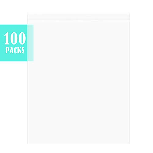 Pack of 100, The Elixir 12 x 15 inch, 2 MIL Clear Plastic Reclosable Zip Poly Bags with Resealable Lock Seal Zipper, Meets USDA FDA Standards