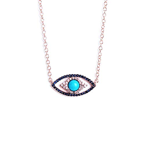 (Obidos Turkish Evil Eye Rose Gold Turquoise Necklace Lucky Jewelry for Girls and Women Faith Protection Lucky Semi-precios Stone Necklace)