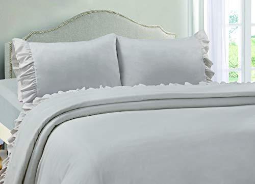 VINTAGE SELECT Queen (Grey) 4 Piece Ruffle Hem Ultra Soft Sheet Set Wrinkle & Fade ()
