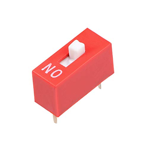 uxcell 50 Pcs Red DIP Switch 1 Positions for Circuit Breadboards PCB