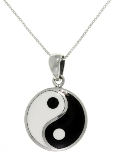 Inlay Sterling Silver Celtic Pendant - Jewelry Trends Sterling Silver Yin Yang Pendant Black and White Balance Symbol on 18 Inch Chain Necklace