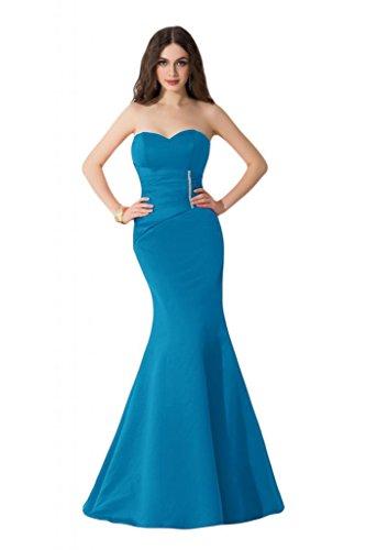 Sunvary corte esbelto de sirena satén Pageant Celebrity vestidos largo vestidos del baile Azul