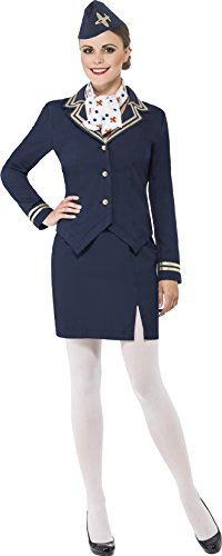 Flight Attendant Costumes For Kids (Smiffy's Women's Airways Attendant Costume, Jacket, Skirt, Scarf and Hat, Icons and Idols, Serious Fun, Size 6-8, 43878)