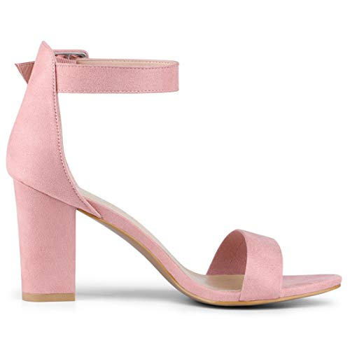 40ae972dc Allegra K Women's Chunky High Heel Ankle Strap Sandals (Size US 11.5) Light  Pink
